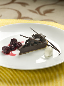 72% Chocolate Tart with Blackberry Compote and Vanilla Bean Cream