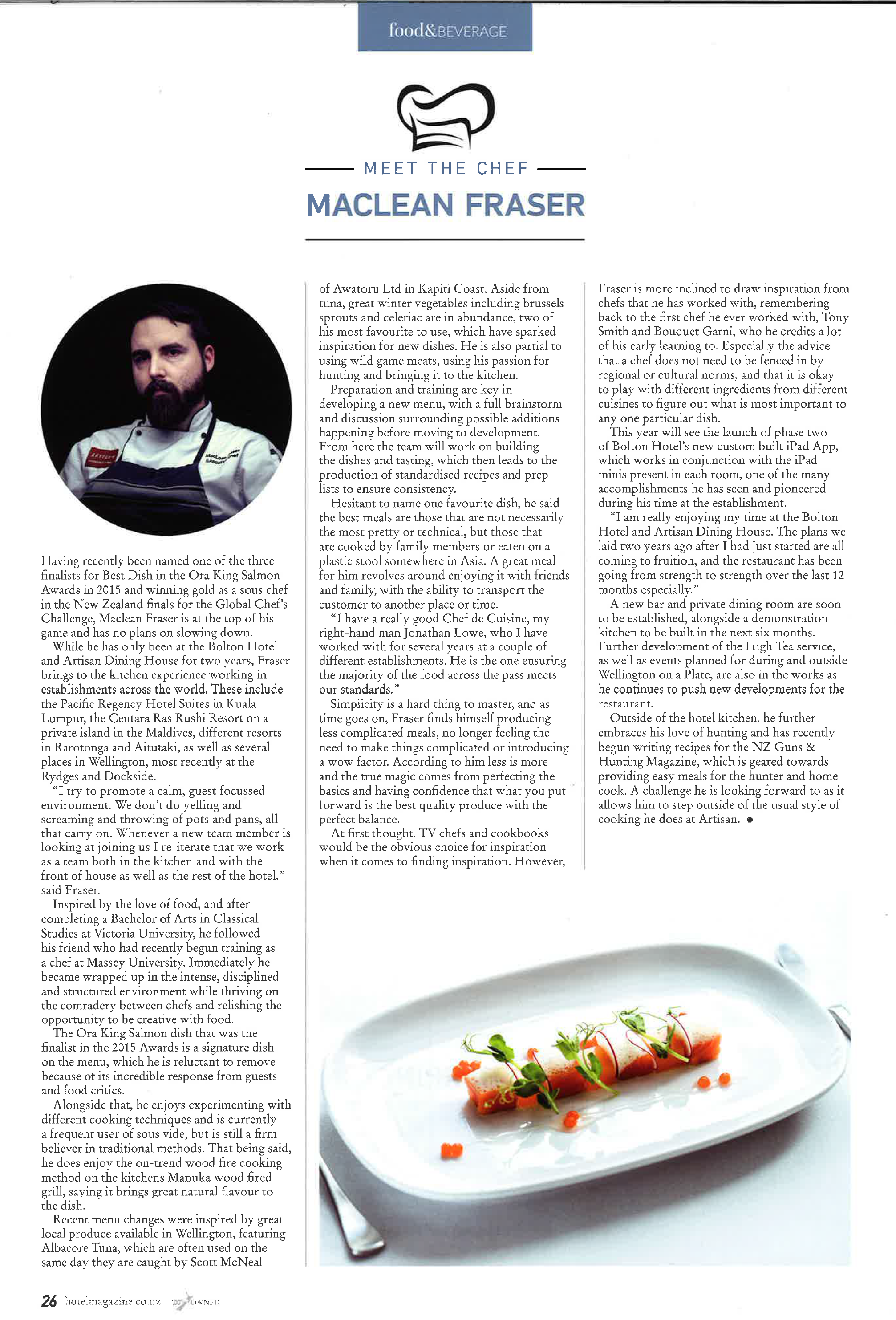Hotel NZ Mag Meet the Chef 2016