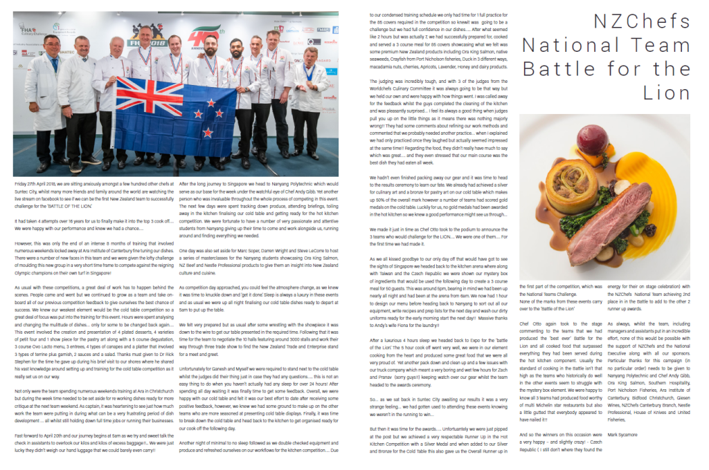 NZ chefs plate mag Singapore team 2018