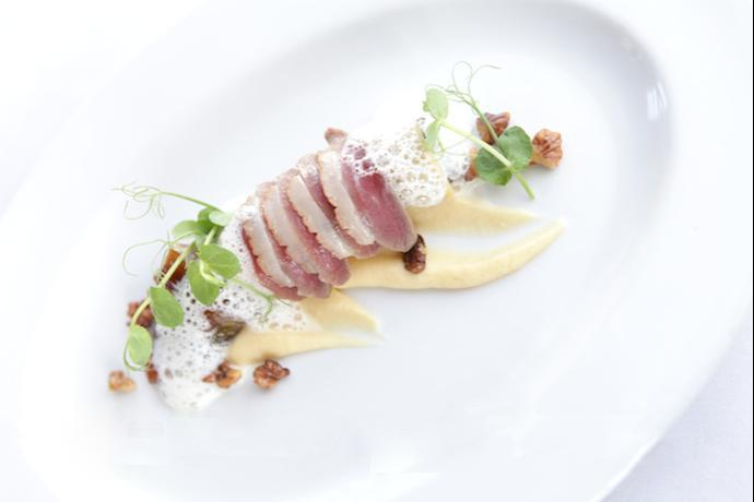 Sugar cured duck, celeriac puree, mushrooms and walnuts, roast garlic emuslsion